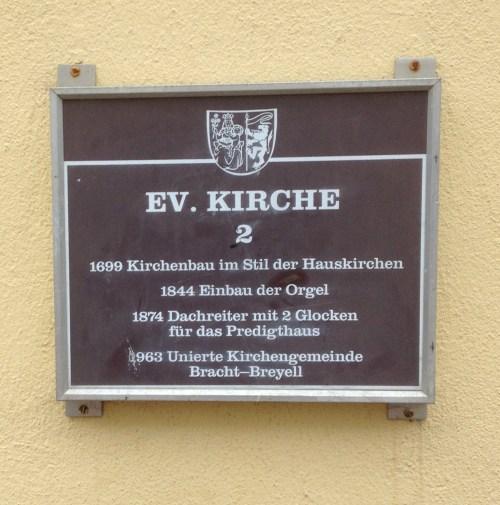 Ev Kirche Bracht plaque