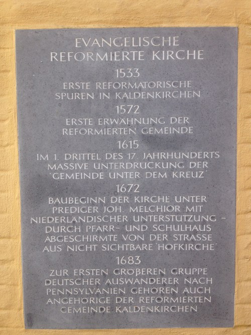 Kaldenkirchen Evangelische Kirche plaque