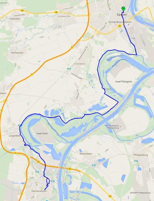 Speyer to Germersheim map