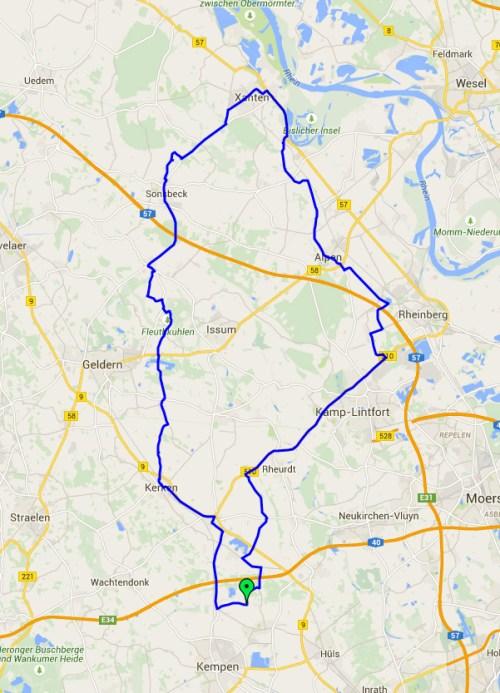 Xanten trip map