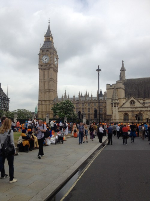 Big Ben and demonstrating Sikhs