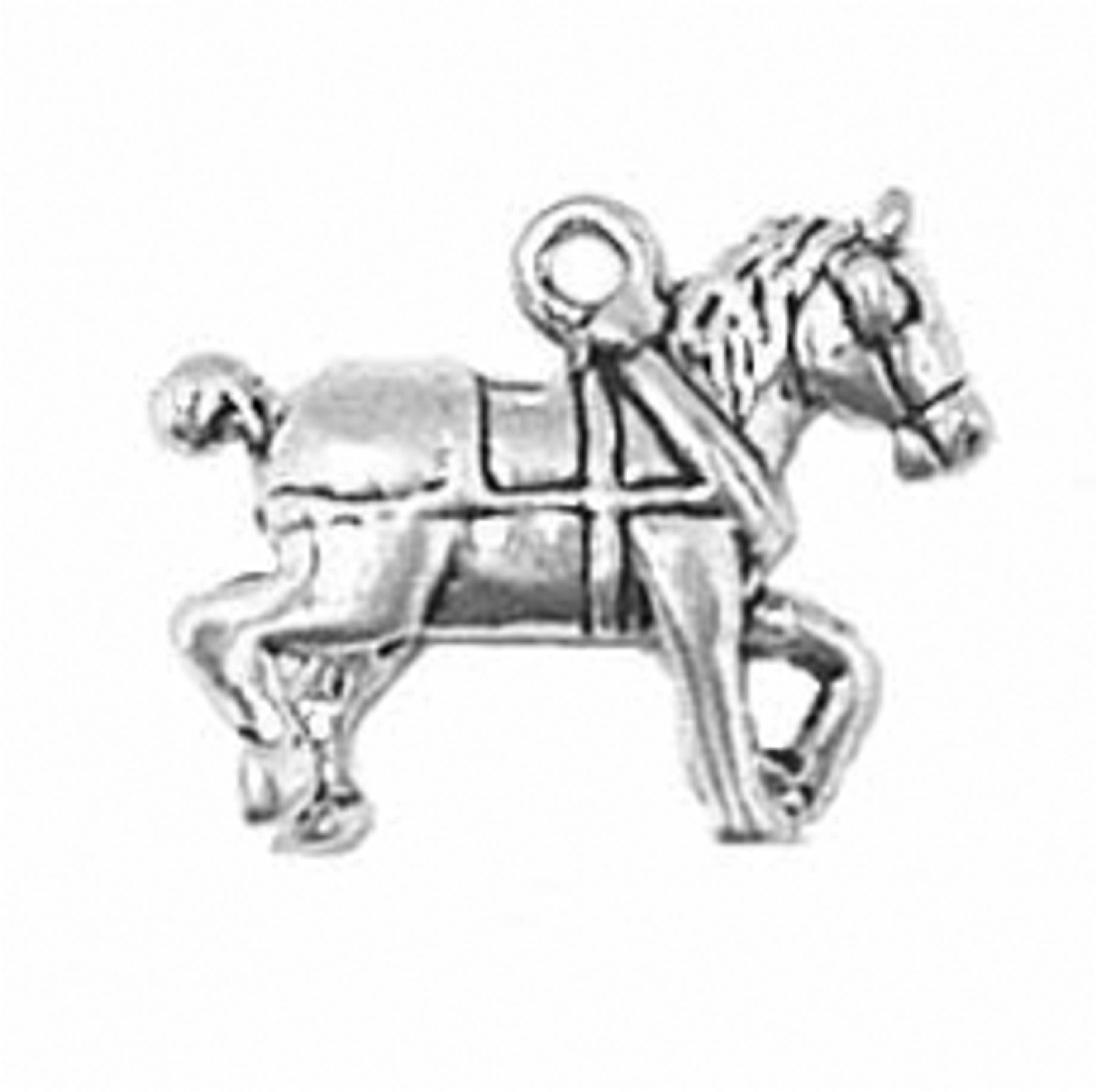 3D Stepping Harnessed Clydesdale Horse Charm Sterling