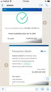 Jessica's paypal transaction
