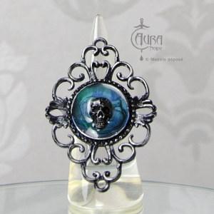 Bague gothique Toran crâne bleu en résine noire baroque - ajustable - face