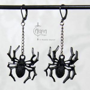 Boucles d'oreilles araignée gothique / occulte seih - noir - face