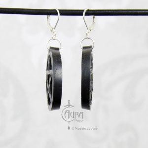 Boucles d'oreilles occulte pentagramme seih - noir - côté