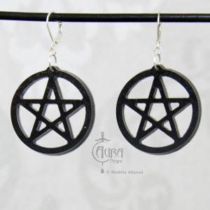 Boucles d'oreilles occulte pentagramme seih - noir - face