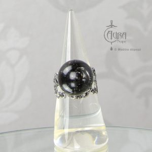 Bague fleur boule intemporelle Adonis - noir - face