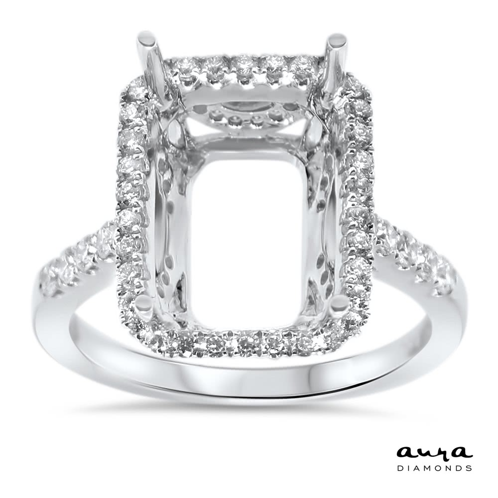 Rectangular Engagement Ring with Halo for 7 ct Stone  AR14071  Aura Diamonds  Dallas TX