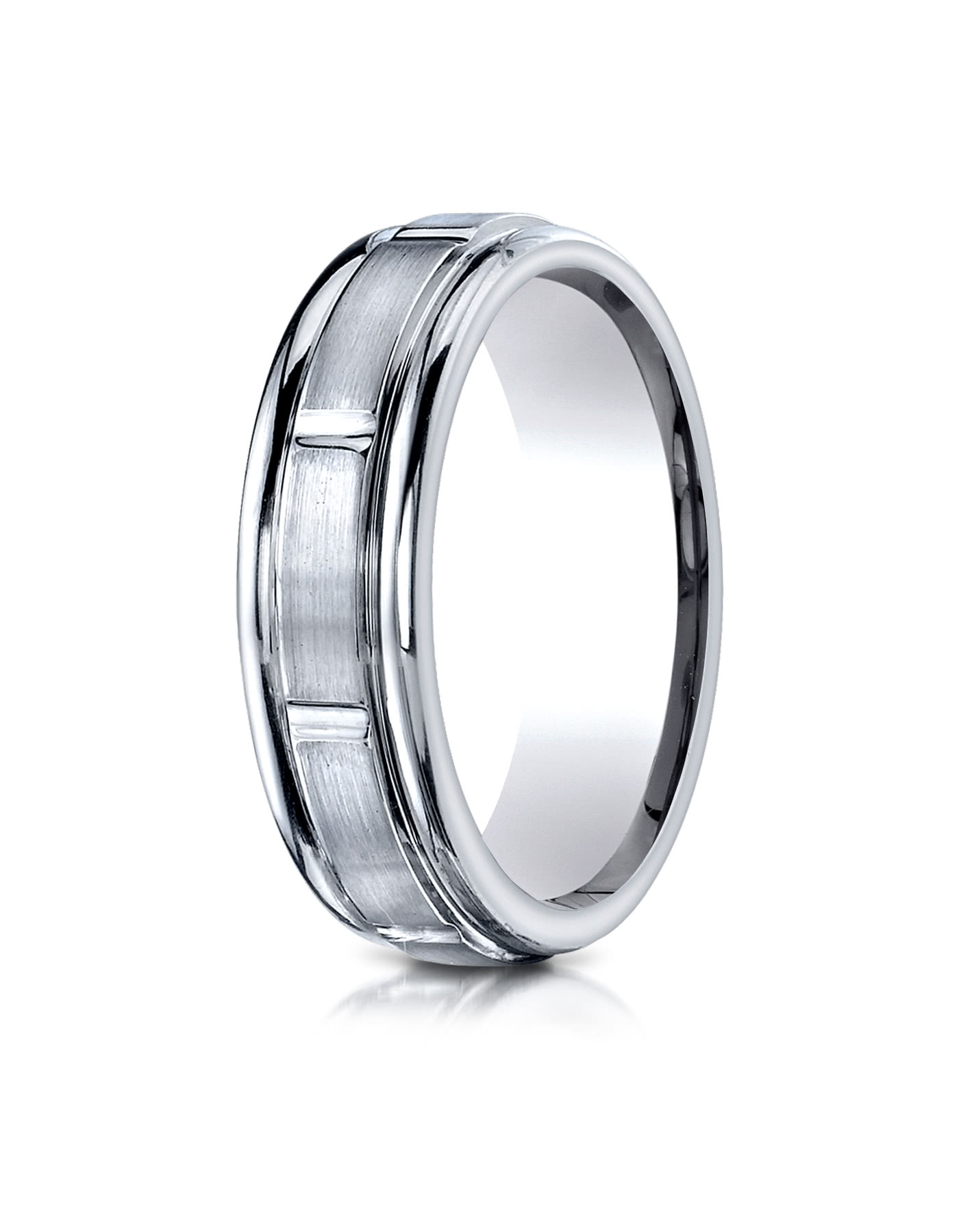 10k White Gold 6mm Comfort Fit Satin Finished 8 High