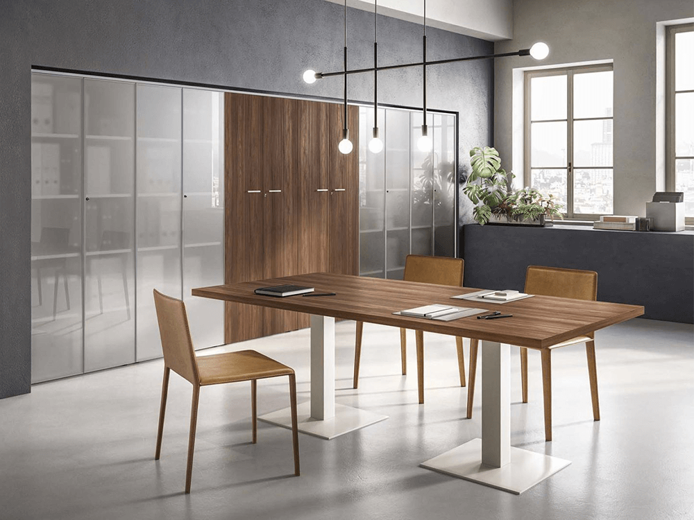Ariel – Woodside Meeting Table with Square Leg Base - Table