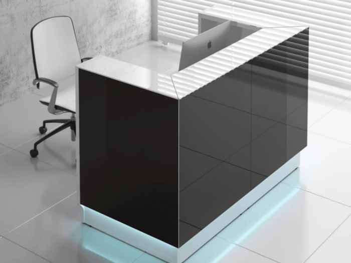 Finley – Black Lacquered Reception Desk with Black Sides