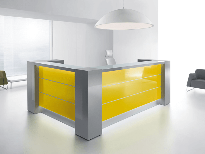 Alba 8 – Grey Reception Desk with White Front