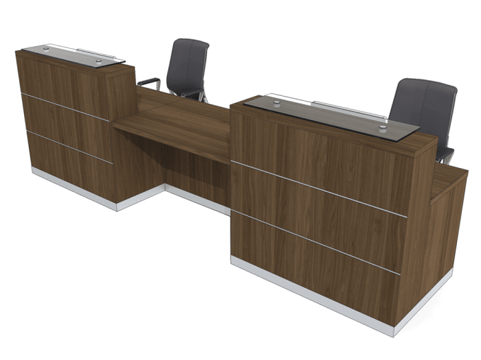 Aesop 1 – Reception Desk in Natural Dijon Walnut