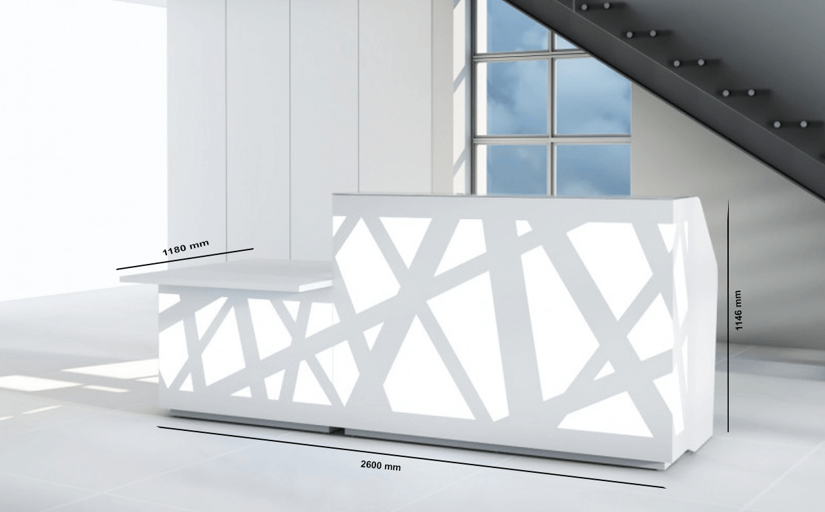 Renzo 1 – Reception Desk in White with Multi-Coloured Fronts and wheelchair access