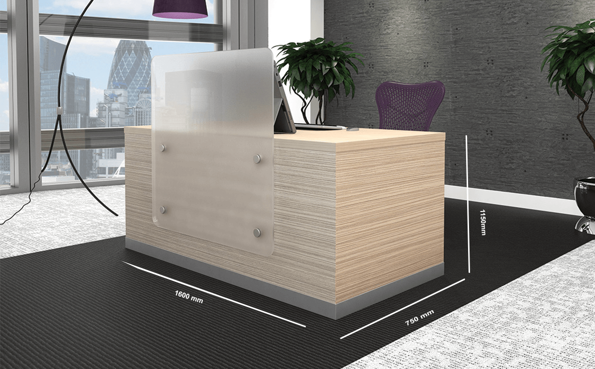 Wiley 1 – Sand Lyon Ash Reception Desk with Upstand