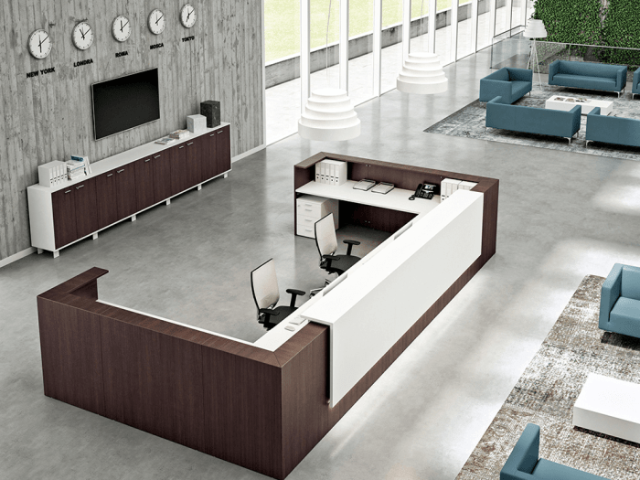 Boone – U-Shaped Modular Reception Desk in Wengè