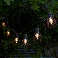 Set of 10 Rustic Metal Cage Solar String Lights - Auraglow ...
