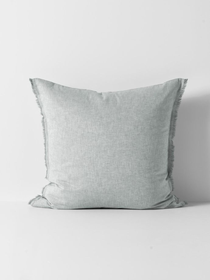 chambray fringe european pillowcase limestone