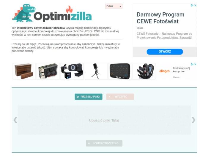 Optimizilla - strona z pomocą, której można optymalizować wagę obrazu