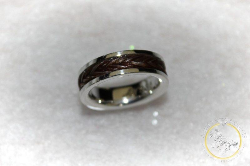 Ring 925 Silber geflochtenes Pferdehaar Fischgrtmuster  Aureas Nobilis