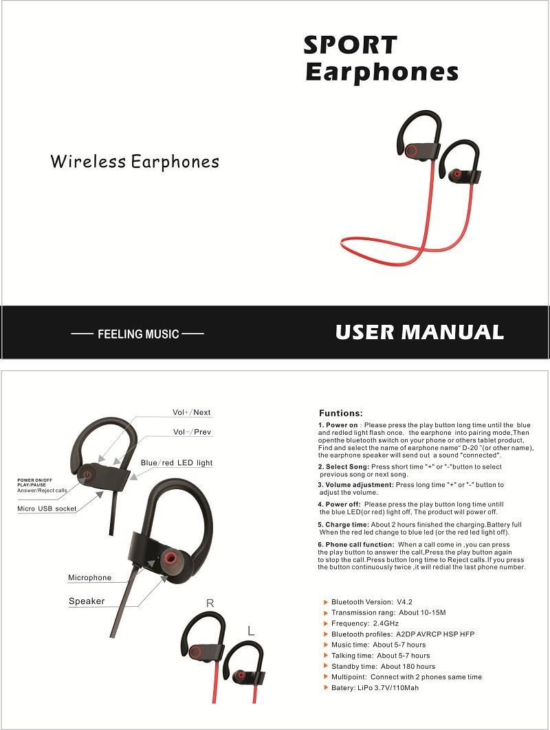 Deportes, Auriculares Bluetooth, Manual del usuario