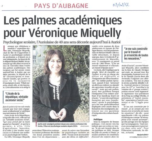 Article du journal La Provence consacré à Véronique Miquelly, le 3 février 2012