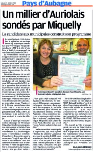 Interview de Véronique Miquelly dans La Provence du samedi 19 octobre 2013,