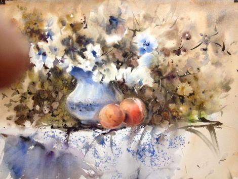 Bodegon con manzanas y uvas 56x76