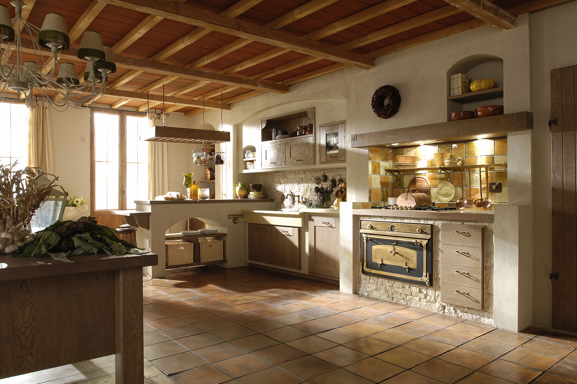 Italian country chic kitchens modular elegant kitchens solid wood rustic kitchens AURORA