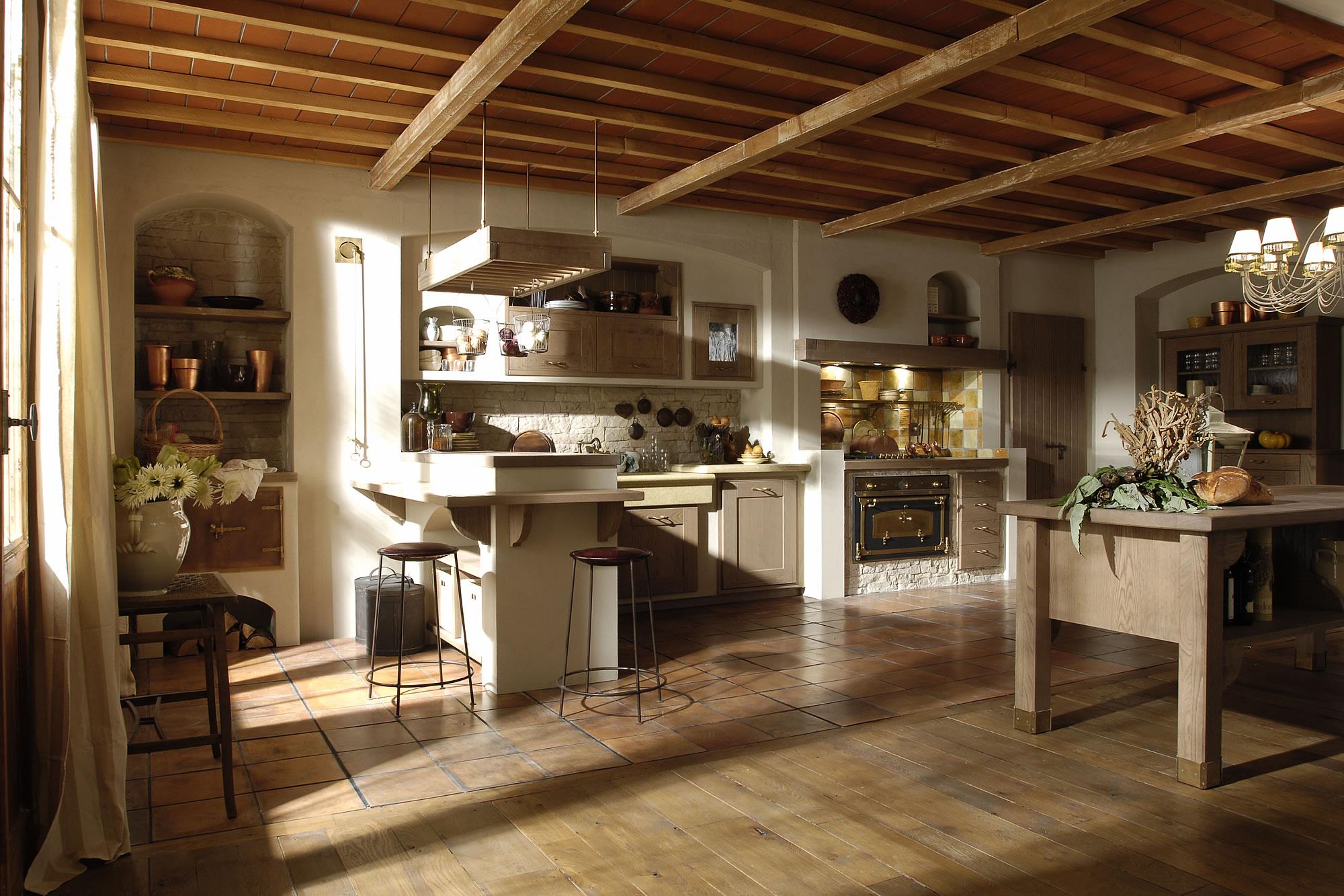 Cucine bianche country chic in muratura cucine in legno massello rustiche Empoli Firenze