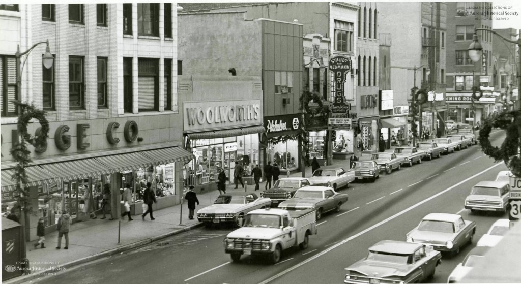 Christmas Shopping on Broadway between Galena and Downer December 1967 (Aurora HIstorical Society photo)