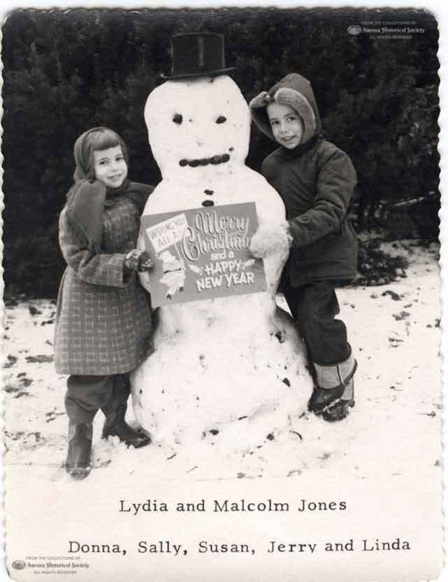 Christmas card of the Malcom Jones family of Aurora 1950s (Aurora Historical Society Photo)