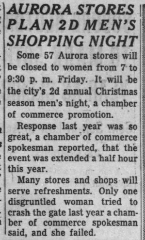 Men's Shopping night in downtown Aurora was a Chamber of Commerce promotional in the 1950s and 1960s (iChicago Tribune Sun Dec 5 1954)