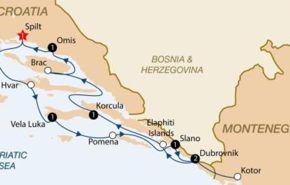 Cruise from Split cabin charter map