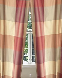 Buffalo Checks Silk Taffeta Living Room Window Lined Rod ...