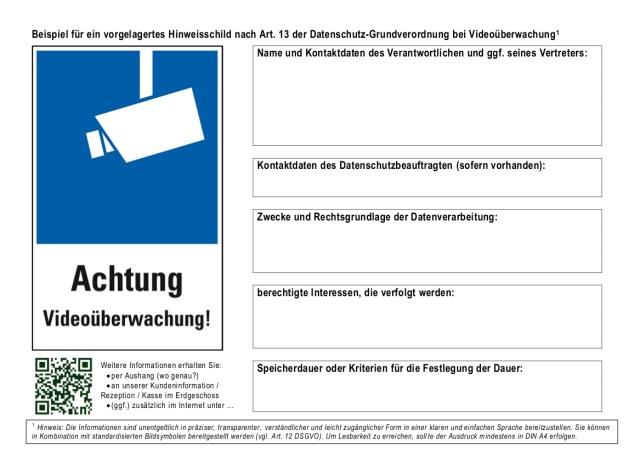 Videoüberwachung - Hinweisschild (Empfehlung der Landesbeauftragten für den Datenschutz Niedersachsen)