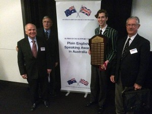 Members of The Australia-Britain Society with 2016 award winner Luke Macaronas