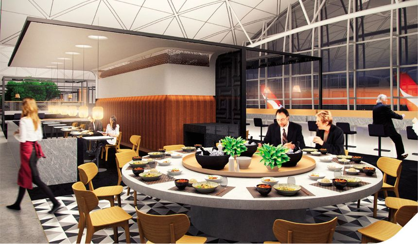 The Qantas Hong Kong Lounge showing part of the dining area and the bar