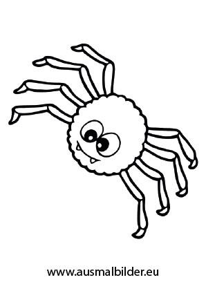 Ausmalbilder Halloween - Nette Spinne