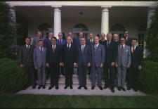 Treasury Secretary Shultz (back row, fourth from left) with the rest of the Nixon cabinet, June 1972 
