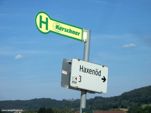 lustige Ortsschilder Österreich Haxenöd in Niederösterreich