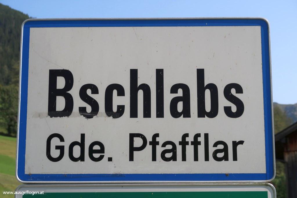 Bschlabs Lechtal Ortsschild