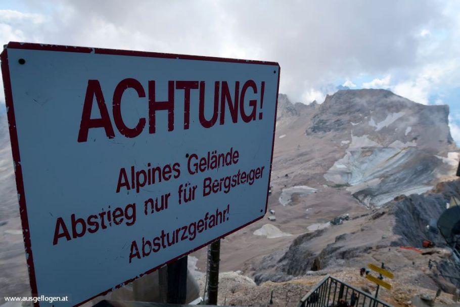 Wanderroute auf die Zugspitze über das Gatterl