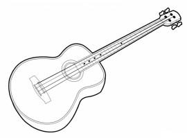 Malvorlagen zum Drucken Ausmalbild Gitarre kostenlos 1
