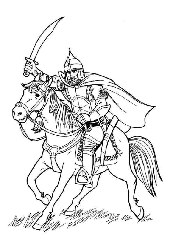 Ausmalbilder Ritter Und Pferd - Kostenlos zum Ausdrucken