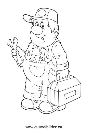 Ausmalbilder Handwerker Berufe Malvorlagen