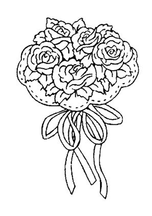 Ausmalbilder Blumenstrauss mit Rosen 9 kostenlos ausdrucken