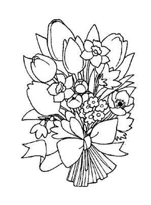 Ausmalbilder Bunter Blumenstrauss 1 - Blumenstrauss