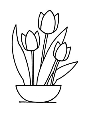 Ausmalbilder Tulpen 2 - Tulpen Malvorlagen